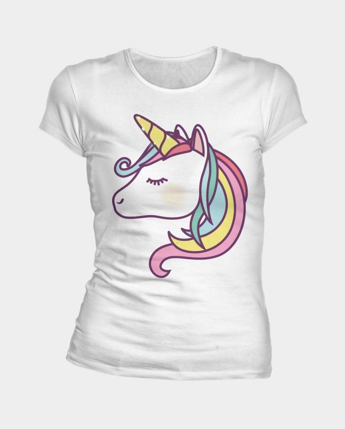 T-shirt blanc avec tête de licorne et sa crinière multicolore