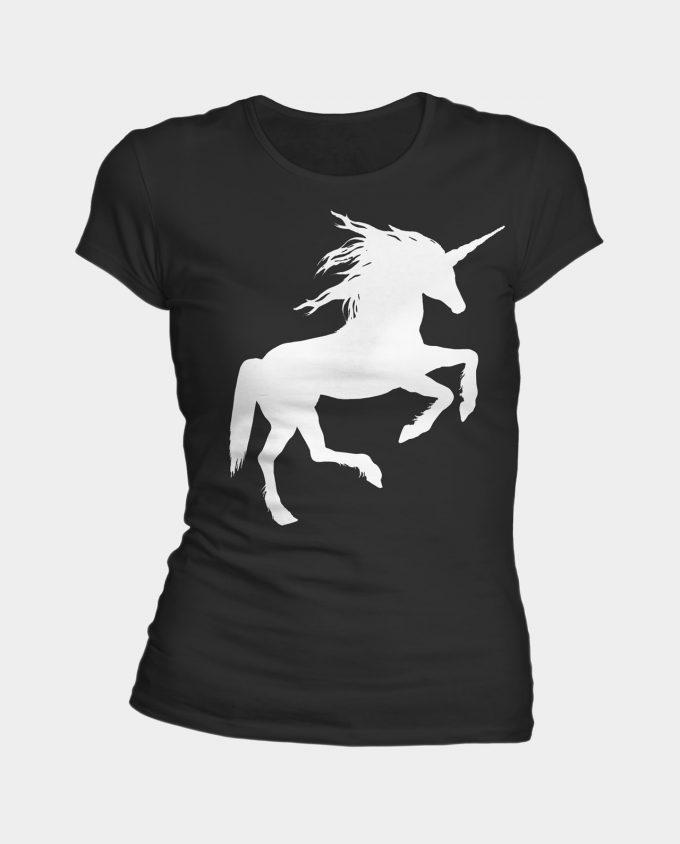 Tee-shirt licorne femme en coton biologique de couleur noir.