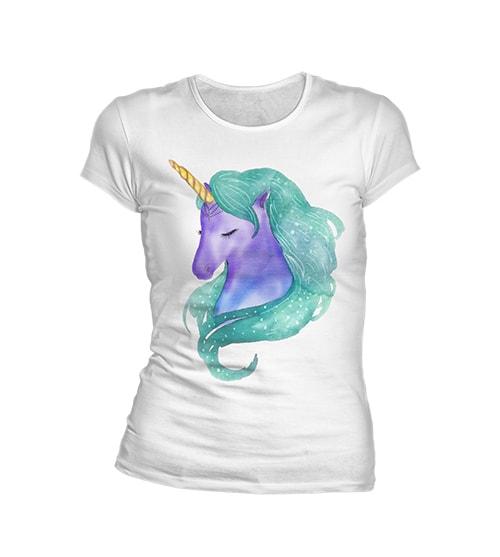 T shirt licorne violette sur t shirt blanc